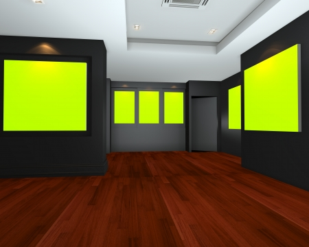 Empty room interior art gallery with green chromakey canvas frame on black wall , 3d art gallery, animation, banner, clean space, presentation