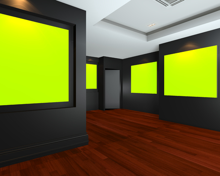 Empty room interior art gallery with green chromakey canvas frame on black wall , 3d art gallery, animation, banner, clean space, presentation photo