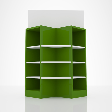 Color green shelves design on white  photo