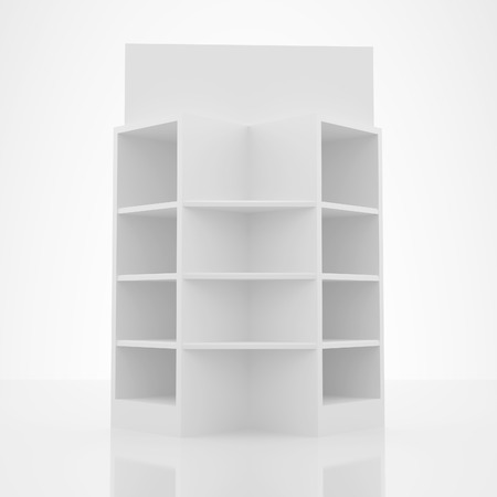 Color white shelves design on white