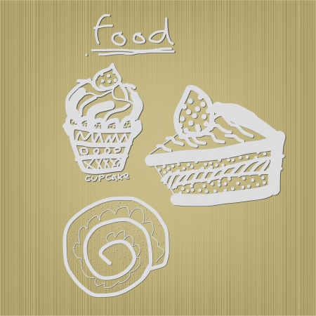Vector free hand illustrations of dessert Illustration