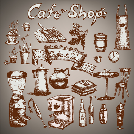 Cafe shop set  Hand drawn outline artwork  Vector