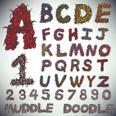 Hand drawing alphabet and numbers muddle doodle, vector Vector