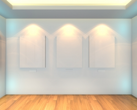 Empty room interior with white canvas on a white wall in the gallery
