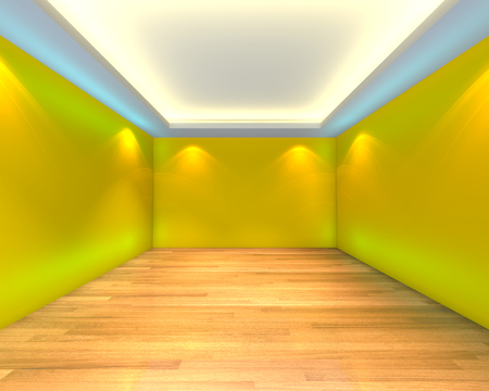 wooden floors: Home interior rendering with empty room color yellow wall and decorated with wooden floors