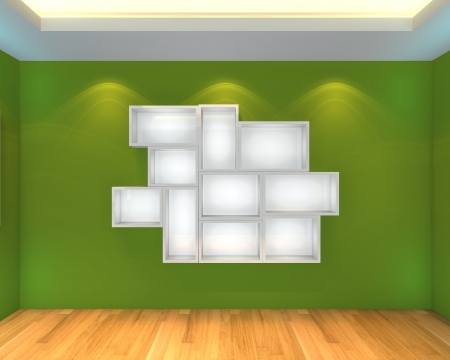 Abstract Shelves with empty room  Empty Room decorated with color green wall and wood floor  photo