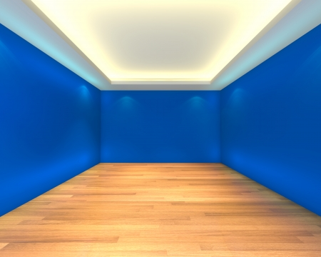 bue: Home interior rendering with empty room color bue wall and decorated with wooden floors