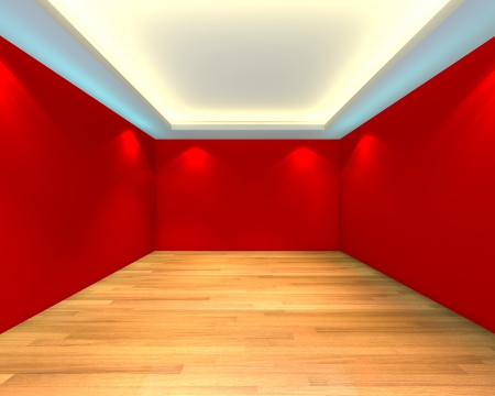 Home interior rendering with empty room color red wall and decorated with wooden floors  Stock Photo