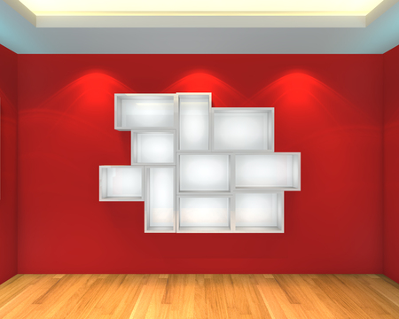 Abstract Shelves with empty room  Empty Room decorated with color red wall and wood floor  photo