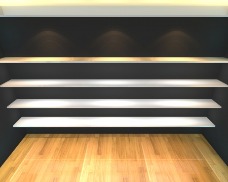 Abstract Shelves with empty room  Empty Room decorated with color black wall and wood floor  photo