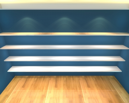 Abstract Shelves with empty room  Empty Room decorated with color blue wall and wood floor  photo