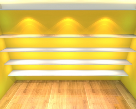 Abstract Shelves with empty room  Empty Room decorated with color yellow wall and wood floor  photo