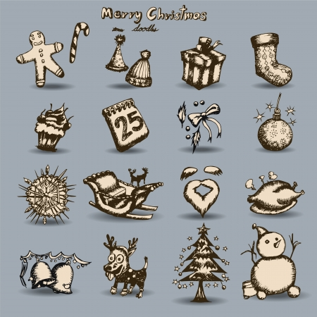 Merry Christmas set Hand drawn outline artwork, vector Vector