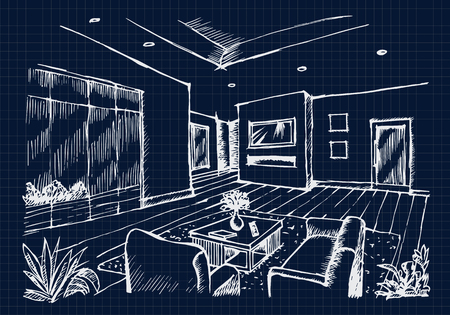 interior drawing: Hand drawing Interior Design for living room on blue print background, Vector