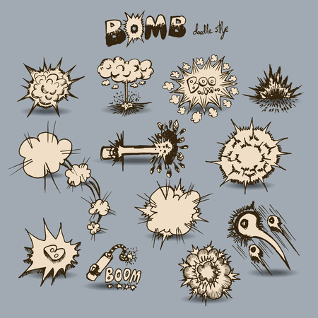 clound: Freehand drawing Comic Explosion and Clound Burst Expressions, Vector doodle Explosionl set