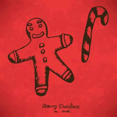 Ginger Bread Cookie Hand drawn outline artwork on grunge background, Vector Eps10 Vector