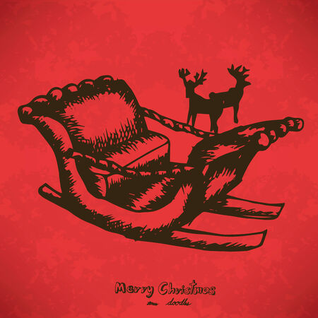 Snow carts and reindeer Hand drawn outline artwork on red grunge Vector