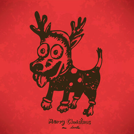 Dog dressed up in reindeer antlers Hand drawn outline artwork on red grunge Vector