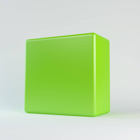 Green cube with rounded edges  Isolated render on a white background