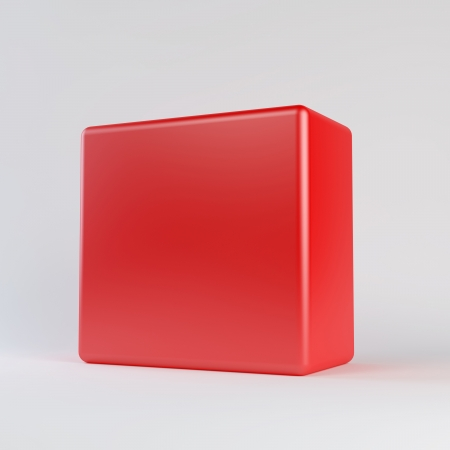 Red cube with rounded edges  Isolated render on a white background photo