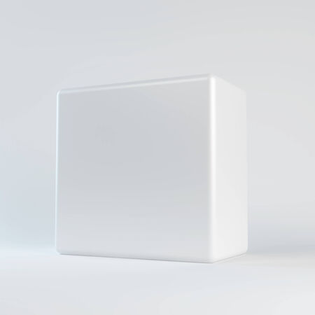 specular: White cube with rounded edges  Isolated render on a white background