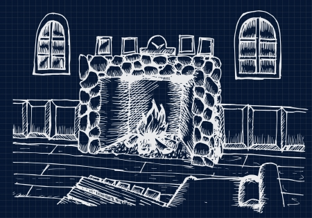 living room design: Hand drawing Interior Design for living room with fireplace on blue print Illustration