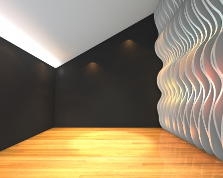 wooden floors: Abstract black empty room with wave wall and decorated with wooden floors