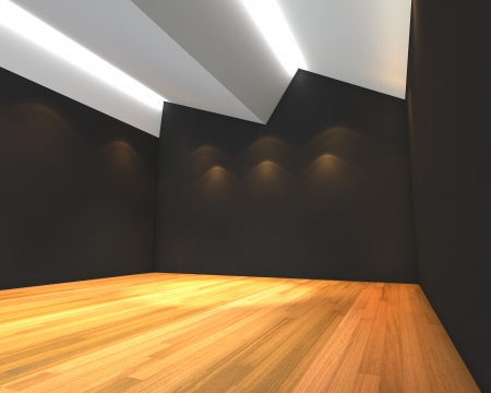 wooden floors: Home interior rendering with empty room black wall with Ceiling serration and decorated with wooden floors