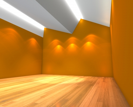 wooden floors: Home interior rendering with empty room orange wall with Ceiling serration and decorated with wooden floors