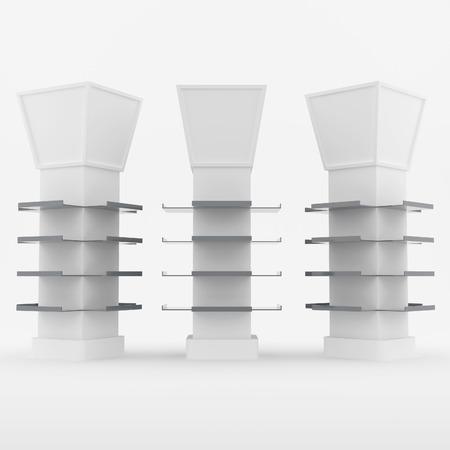 color white: Color de dise�o de estantes blancos para postes cubiertos en el fondo blanco Foto de archivo