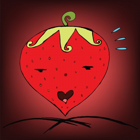 heathy: Freehand Sketch Strawberry love, Valentine theme Illustration