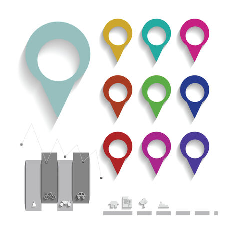 Map pin color set, map elements set Vector