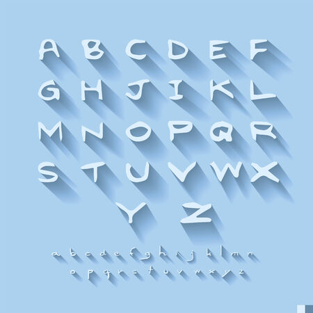 Doodle Alphabet design on blue background with shadow  Vector
