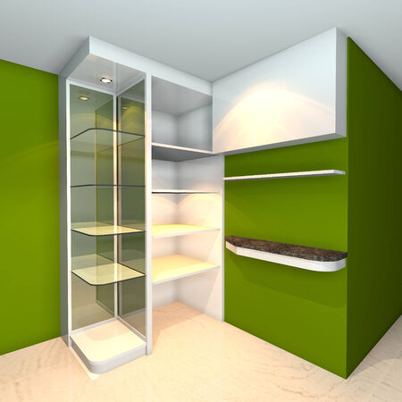 Green built-in shelves designs, corner of the room  photo