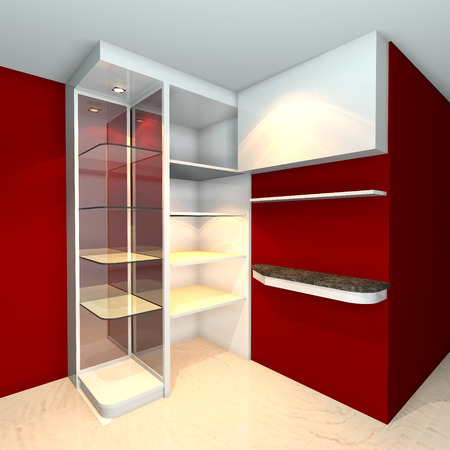 Red built-in shelves designs, corner of the room  photo