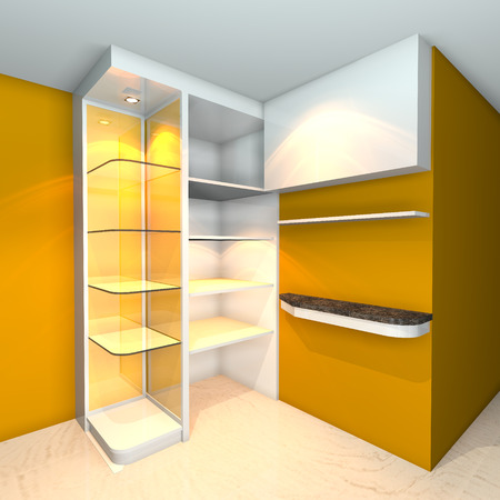 Yellow built-in shelves designs, corner of the room  photo
