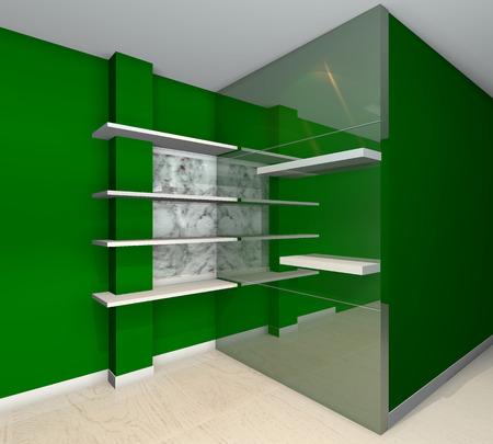 Green built-in shelves designs, corner of the room  photo