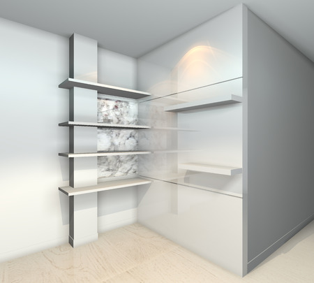 White built-in shelves designs, corner of the room  photo