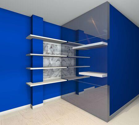 Blue built-in shelves designs, corner of the room  photo