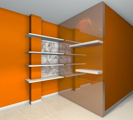 Orange built-in shelves designs, corner of the room  photo