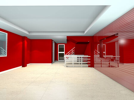 Empty room red living interior design photo