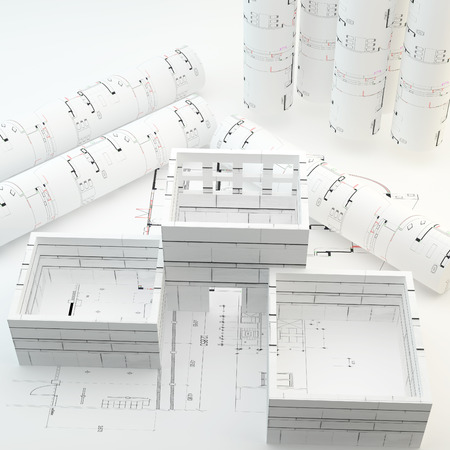 Room area for Interiror Design on Architecture plan and rolls