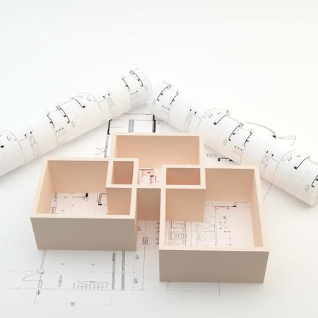 Superficie del local para Interiror Dise�o en Arquitectura plan y rollos Foto de archivo
