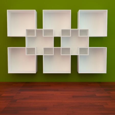 Shelf libro blanco sobre fondo verde y el piso de madera Foto de archivo