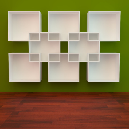 White book Shelf on Green Background and wooden floor