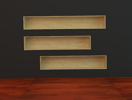 Wood book Shelf built-in  wall on black Background and wooden floor photo