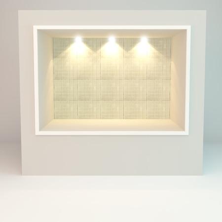 vitrine: Empty Showcase of a shop with glass mosaic tile on white background