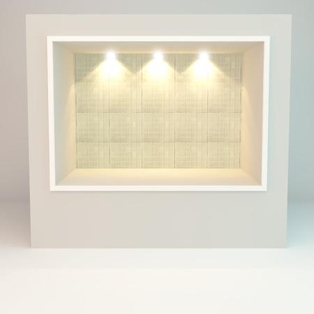 mosaic tile: Vuoto Vetrina di un negozio con piastrelle di mosaico di vetro su sfondo bianco