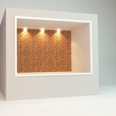 vitrine: Empty Showcase of a shop with orange mosaic tile on white background Stock Photo