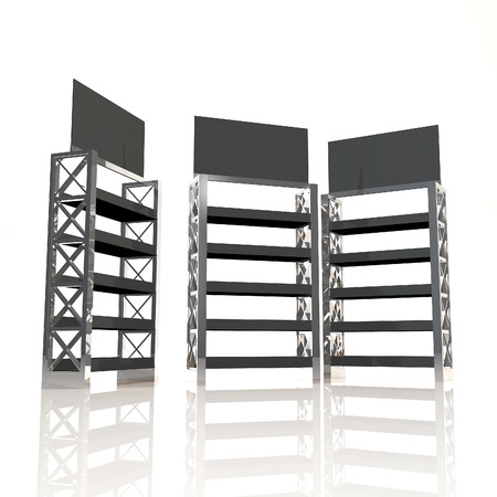 Black shelves truss design on white background photo